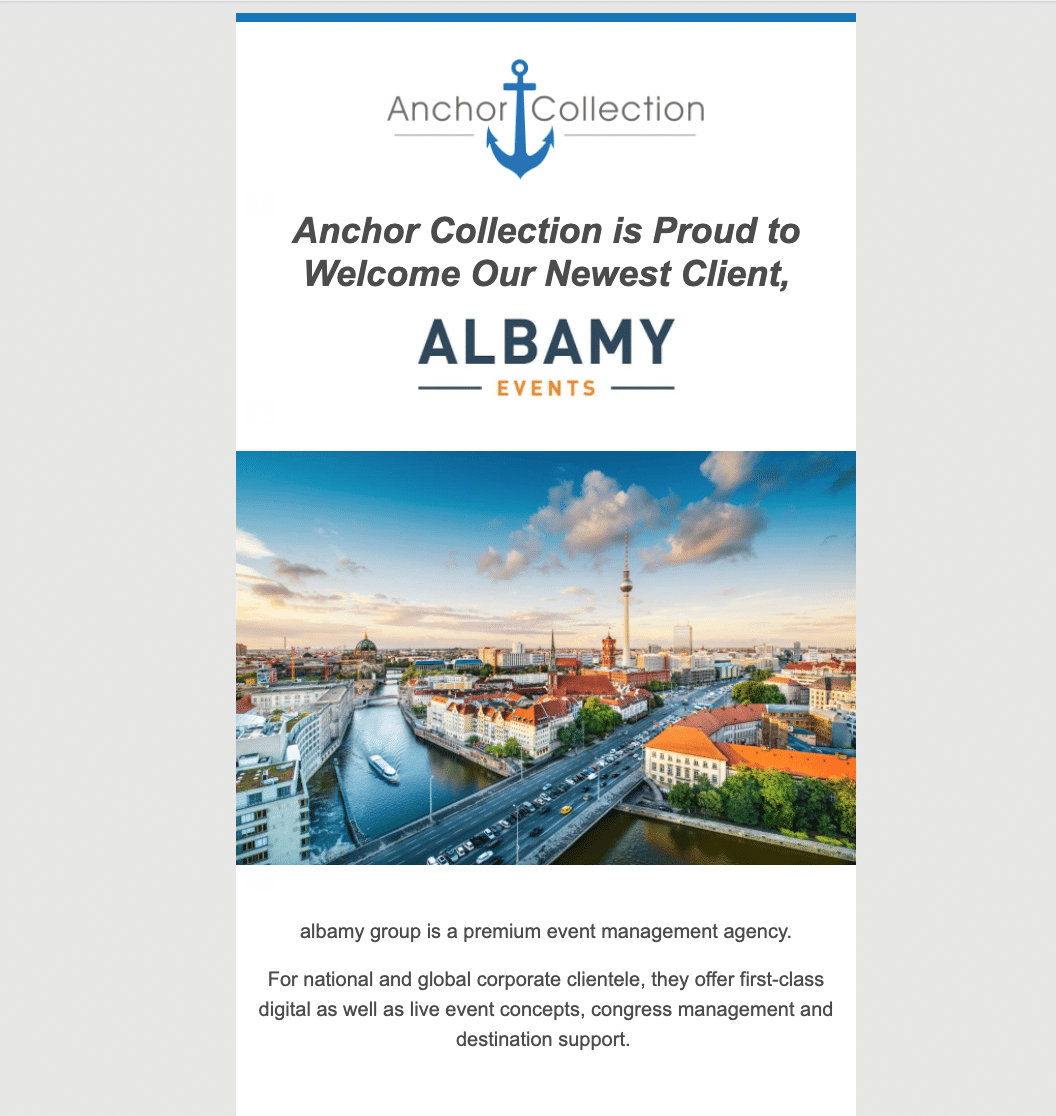anchor collectoion flyer announcing new client, Albamy Events